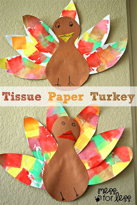 A Paper Turkey - tissue paper turkey craft mess for less