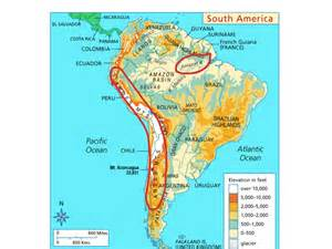 physical features map of south america physical map of south america history social studies