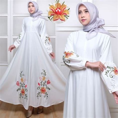 Baju Dress Bordir Putih by Gamis Dress Polos C035 Baloteli Bordir Hitam Putih Murah