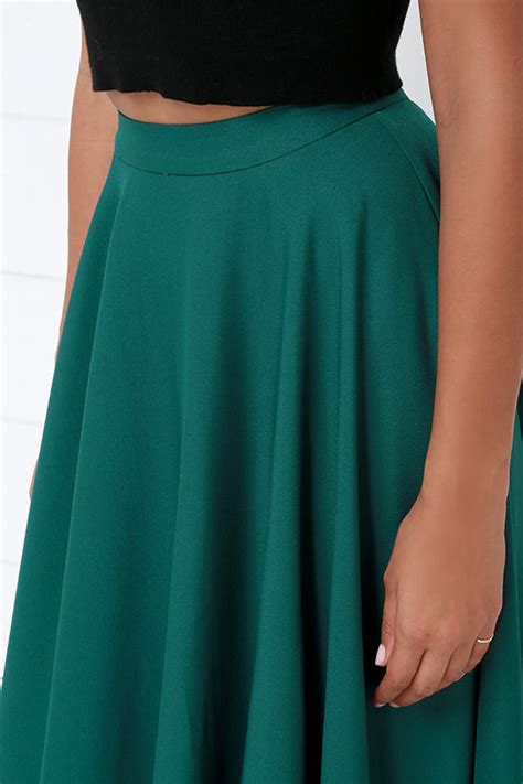 chic teal skirt midi skirt high waisted skirt