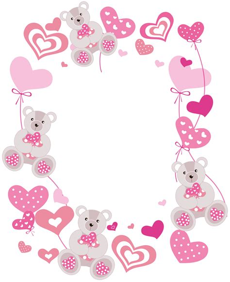 Frame Foto Teddy transparent hearts png photo frame with teddy bears