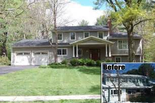 split level exterior remodel before and after google