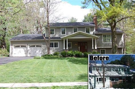 split level exterior remodel before and after