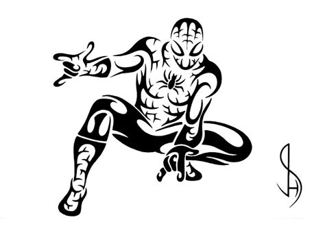 spiderman tribal tattoo tribal pencil and in color