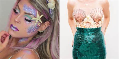 easy diy mermaid costumes  minute halloween costume