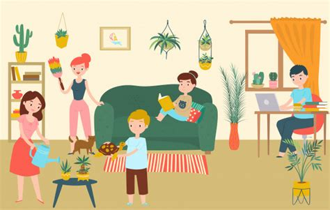 family relax room character father mother children stay