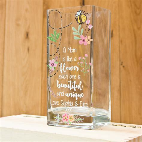 Printed Vase Personalised Bee   The Laser Boutique