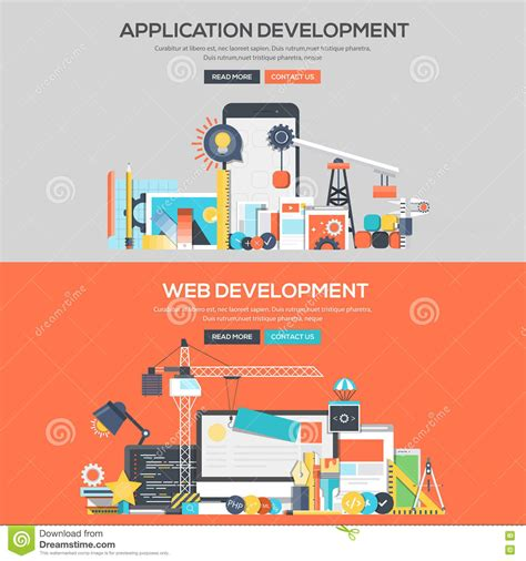 banner start app layout flat design concept banner application development and