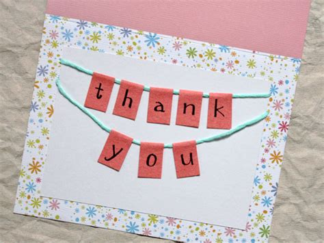 how to make a bunting thank you card loulou downtown - How To Make A Thank You Card In Word
