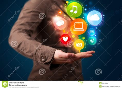 beautiful technology young woman presenting colorful technology icons and