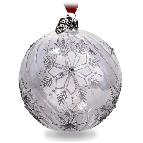 waterford christmas silver snowflake ball