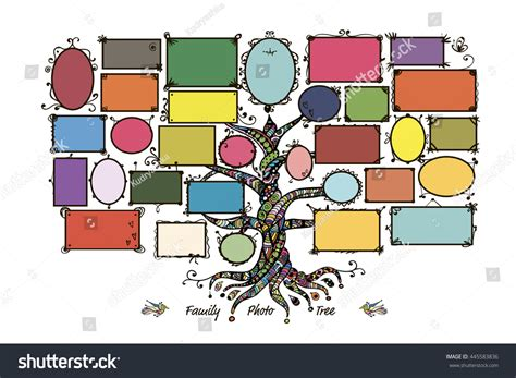 Family Tree Template Picture Frames Stock Vector 445583836 Shutterstock Family Tree Template Empty Frames Photos Stock Vector 656586004