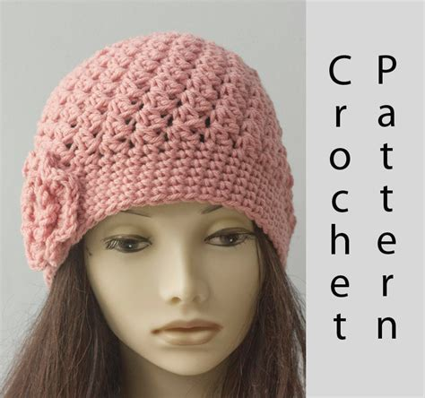 textured hat pattern textured flower cloche hat crochet pattern slouchy beanie