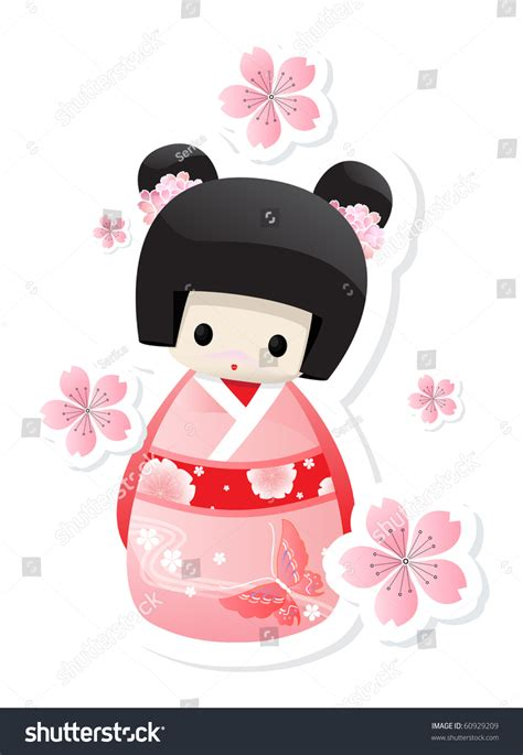 of japanese doll kokeshi japanese doll stock vector 60929209