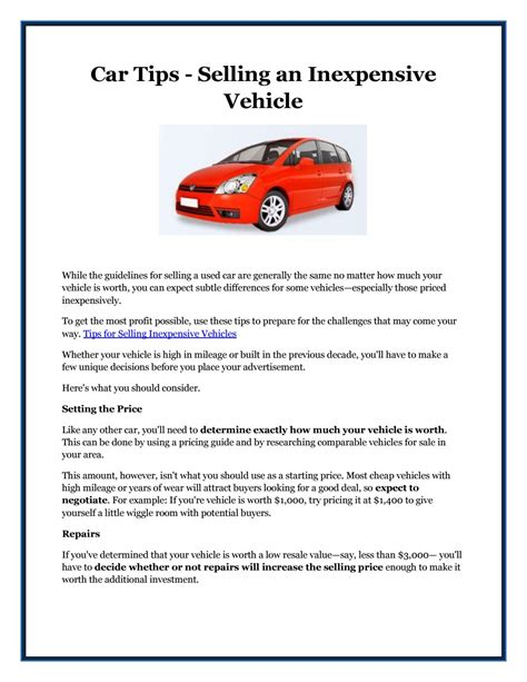car tips selling  inexpensive vehicle  isobel