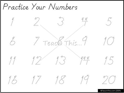 printable numbers 1 20 practice sheets writing numbers kindergarten practice