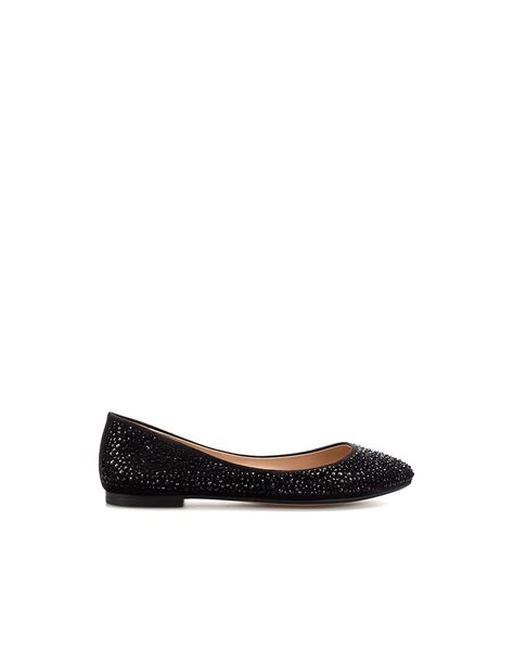 black flat court shoes zara shiny flat court shoe in black lyst