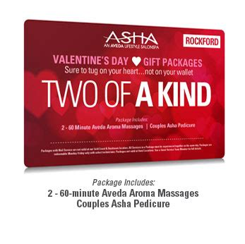 Aveda E Gift Card - two of a kind valentine spa package rockford asha salonspa