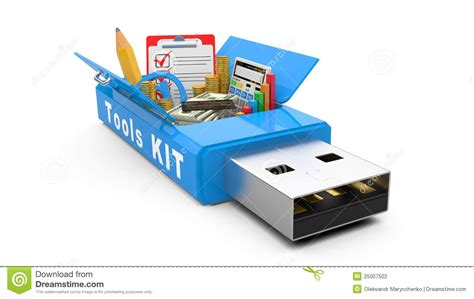 Drive Office by Usb Flash Drive With Office Tools And Money Stock