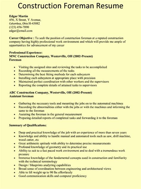 Construction Description For Resume construction foreman resume exle chicago