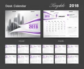 Calendar 2018 Desk 2018 Desk Calendar Purple Vector Vector Calendar Free