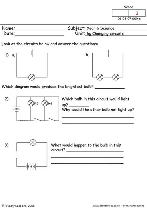 Electric Circuits Worksheet by All Worksheets 187 Electricity Worksheets Grade 6