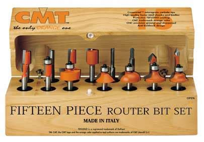 cmt woodworking tools cmt 15 router bit set 1 4 quot shank 800 001 00 mike s