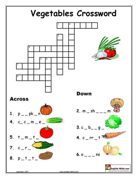 Printable Crossword Puzzles Vegetables | vegetable crossword lela