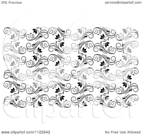 black and white vine pattern clipart of a seamless black and white floral vine