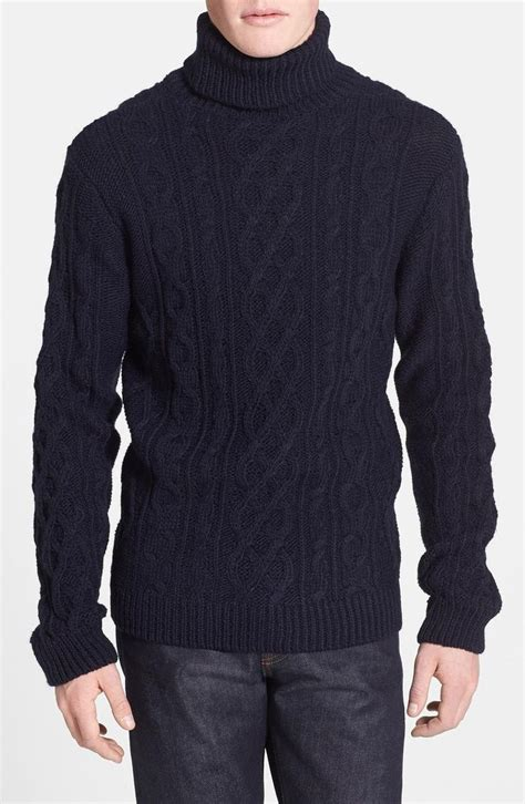 mens knit turtleneck sweater topman chunky cable knit turtleneck sweater