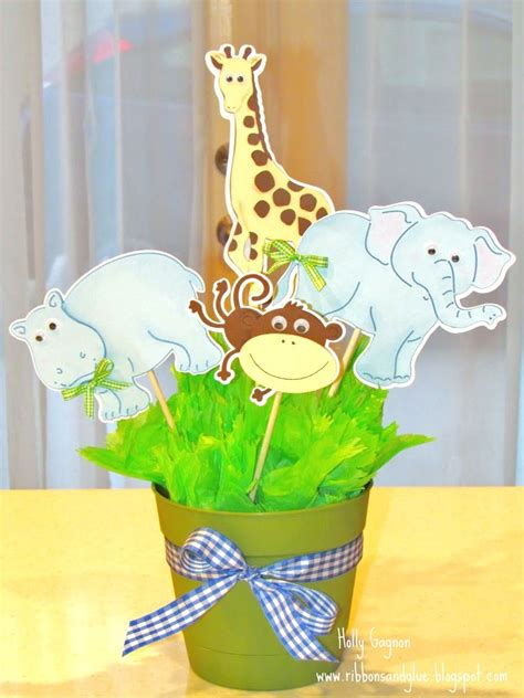 Safari Baby Shower Centerpieces by Jungle Animal Baby Shower