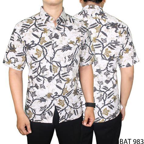 Batik Slimfit Pria Bat 961 jual batik modis pria katun putih bat 983 kemeja pria terbaru batik slim fit kemeja pria