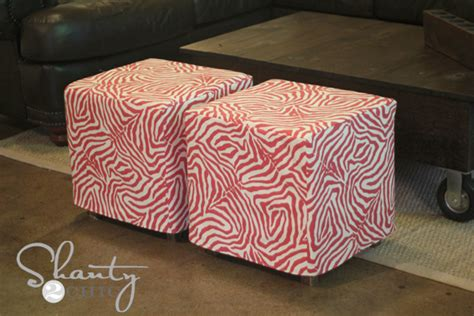 how to cover a storage ottoman with fabric diy cube ottoman slipcover shanty 2 chic