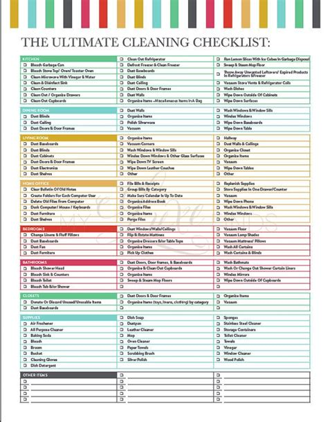 printable house cleaning checklist for housekeeper the ultimate house cleaning checklist printable pdf to
