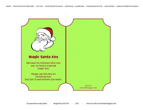 printable santa key template red owl magic santa key free printable