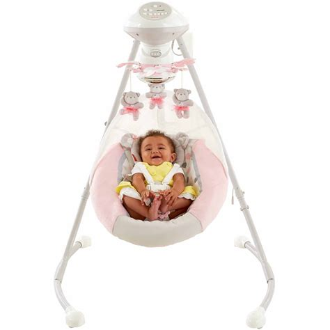 fisher price swing pink fisher price my little snugabear cradle n swing pink ebay