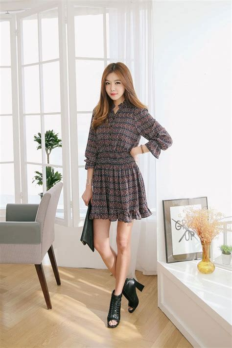pattern korean dress ethnic pattern waist dress korean dresses pinterest