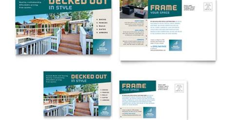 decks fencing postcard indesign template by