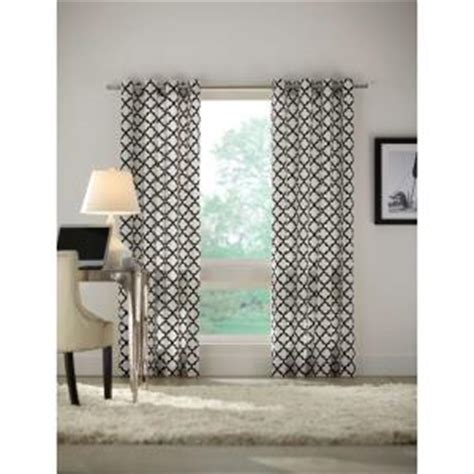 Black And White Lattice Curtains Home Decorators Collection Semi Opaque Black Lattice Luxe Flocked Grommet Curtain 52 In W X