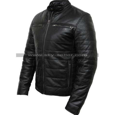 padded motorcycle jacket men s black puffer padded motorcycle leather jacket