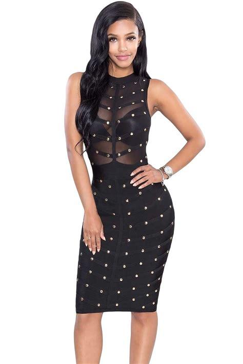 Dress Black sova black studded bandage dress