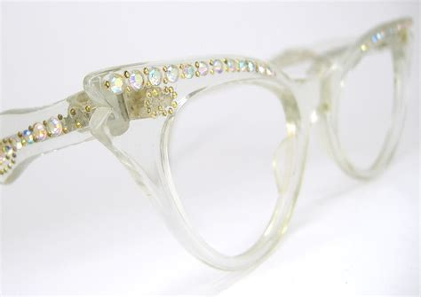 vintage 1950s rhinestone eyeglasses frames