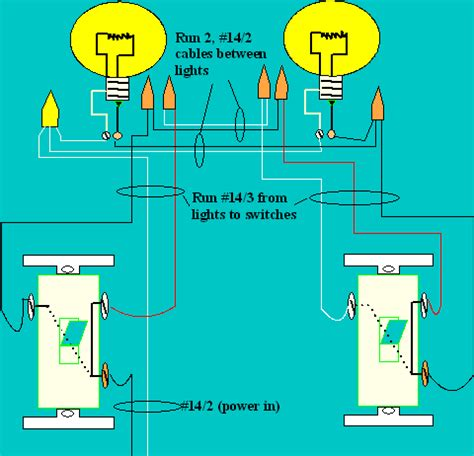 wiring diagram two lights between two switches