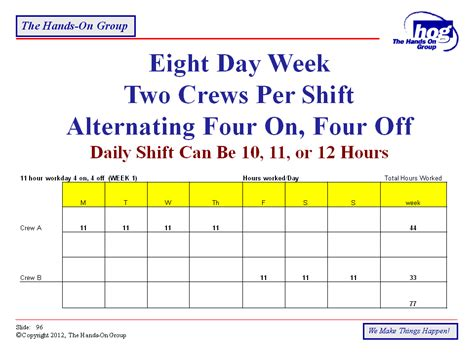 8 hour shift schedule templates