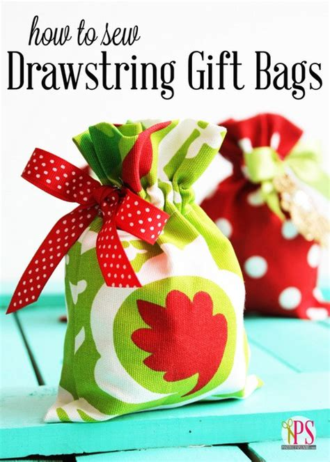 how to sew festive drawstring gift bags free tutorial
