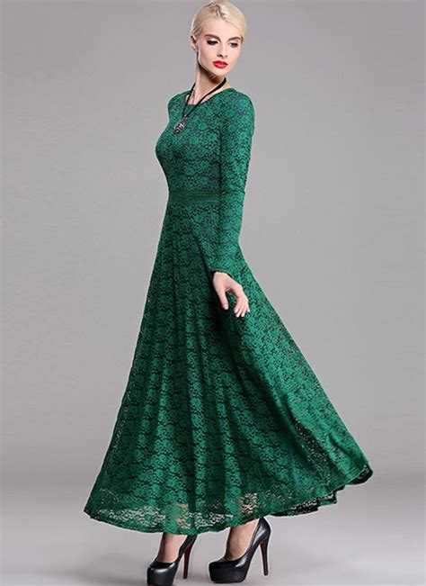 light green dress with sleeves long sleeve dark green lace maxi dress with contrast