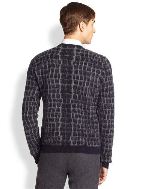 Sweater Fendi Fendi Crocprint Mohair Sweater In Blue For Lyst