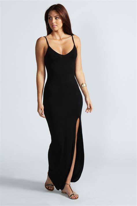 boohoo estelle strappy front split maxi dress ebay