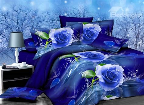 blue rose comforter set graceful blue rose print 4 piece polyester duvet cover
