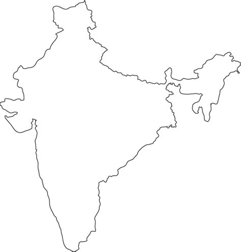 An Outline Political Map Of India by Geography Outlines Maps India